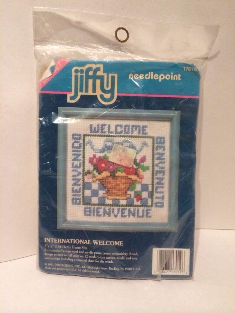 """Sunset Jiffy Needlepoint kit International Welcome 1991 5"""" X 5""""  0885 #Jiffy"""