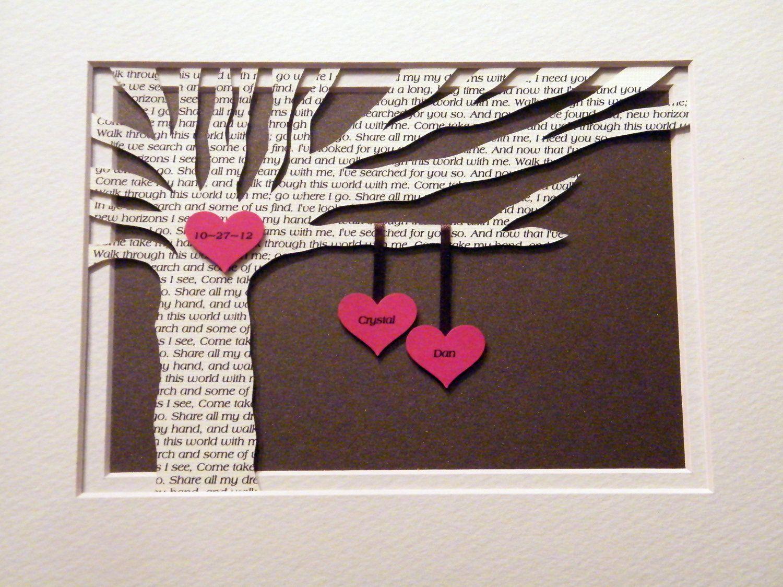 Personalized Wedding Gift Wedding Song Lyrics 3d Paper Tree