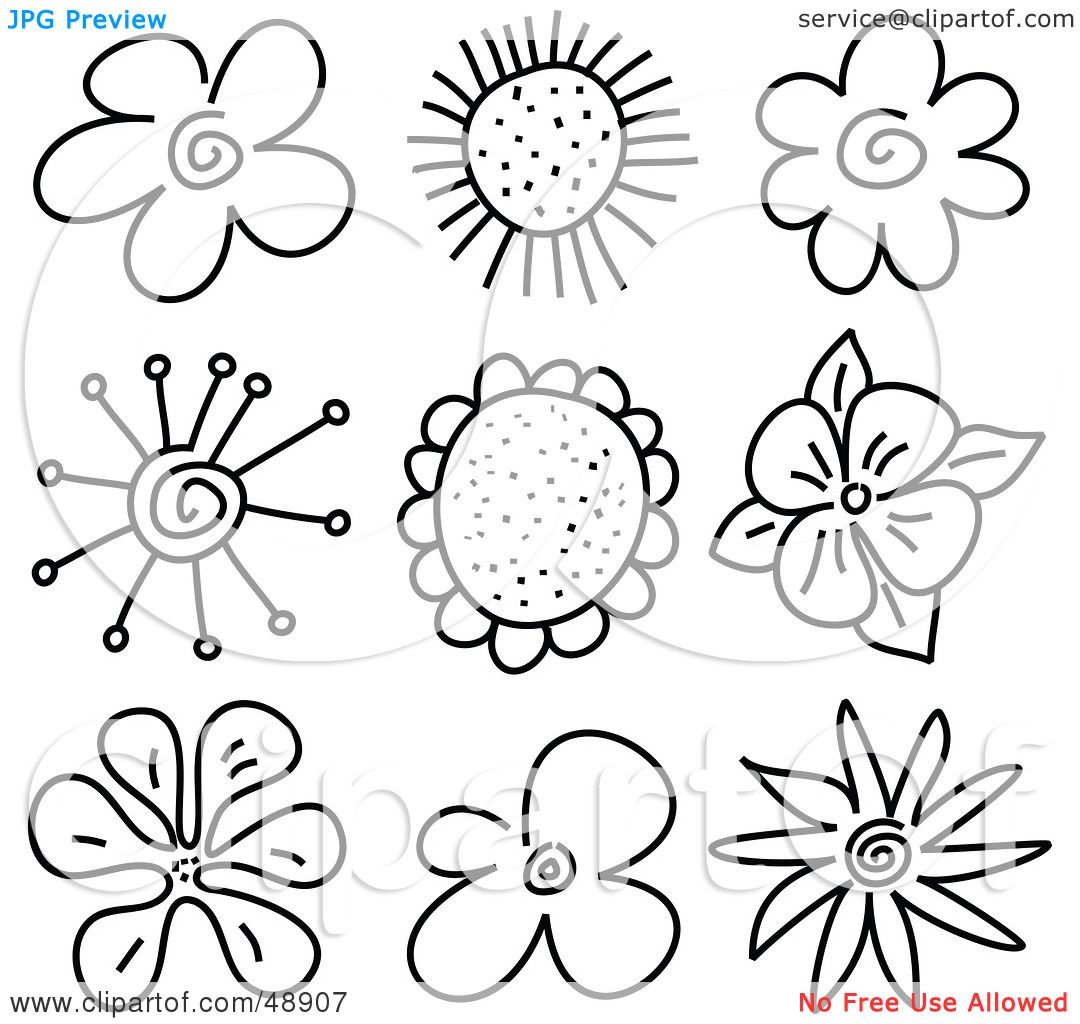 Royalty free rf clipart illustration of a digital collage of royalty free rf clipart illustration of a digital collage of black and white flower sketches by prawny dhlflorist Image collections