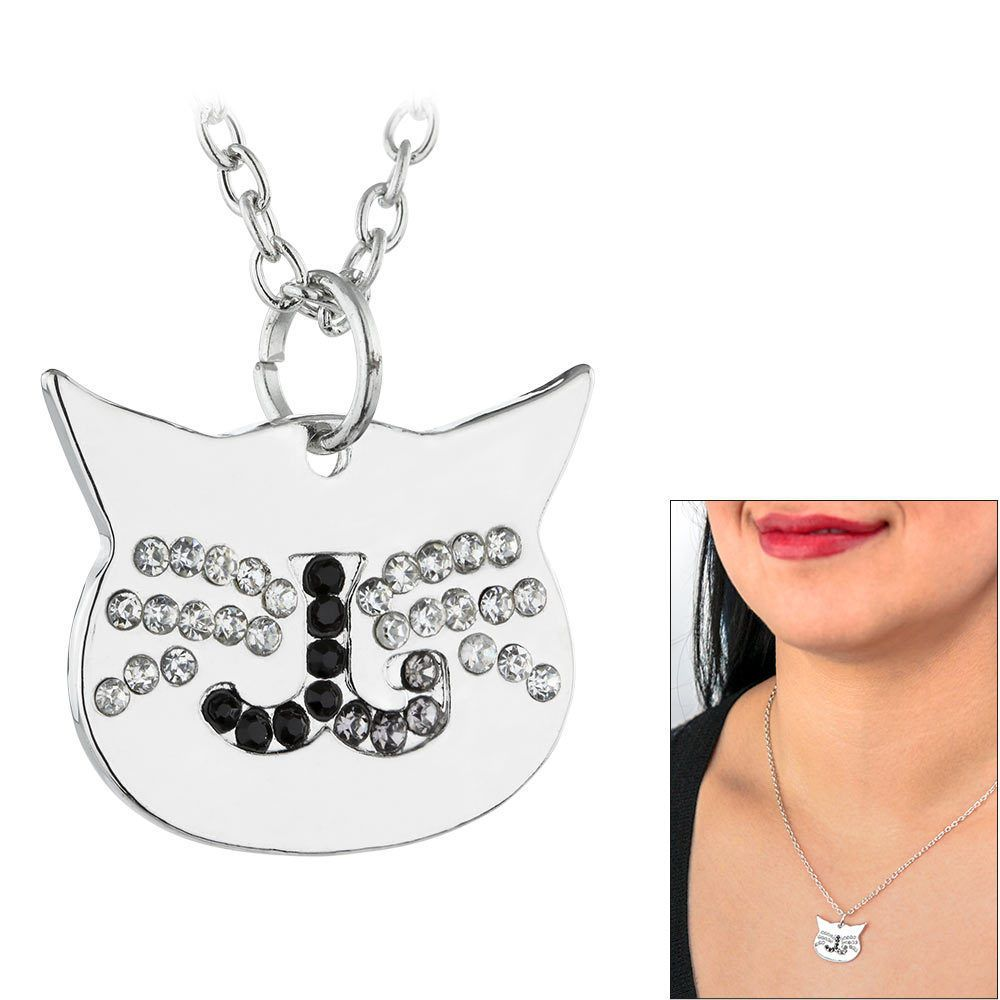 Jackson Galaxy Rhinestone Cat Face Necklace - Cat Lover Necklace #JacksonGalaxy #Charm