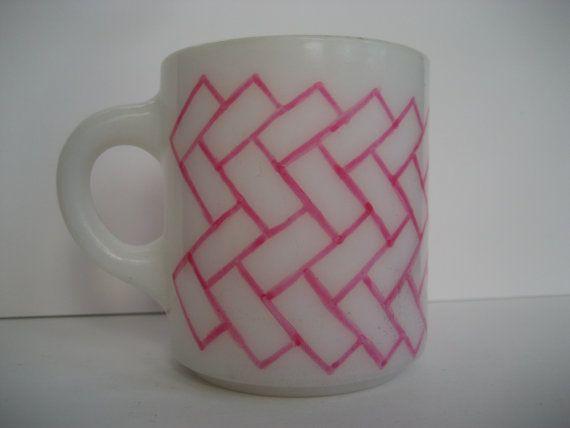 Herringbone pattern Milk Glass mug Pink and White by BInYourBonnet, $7.00