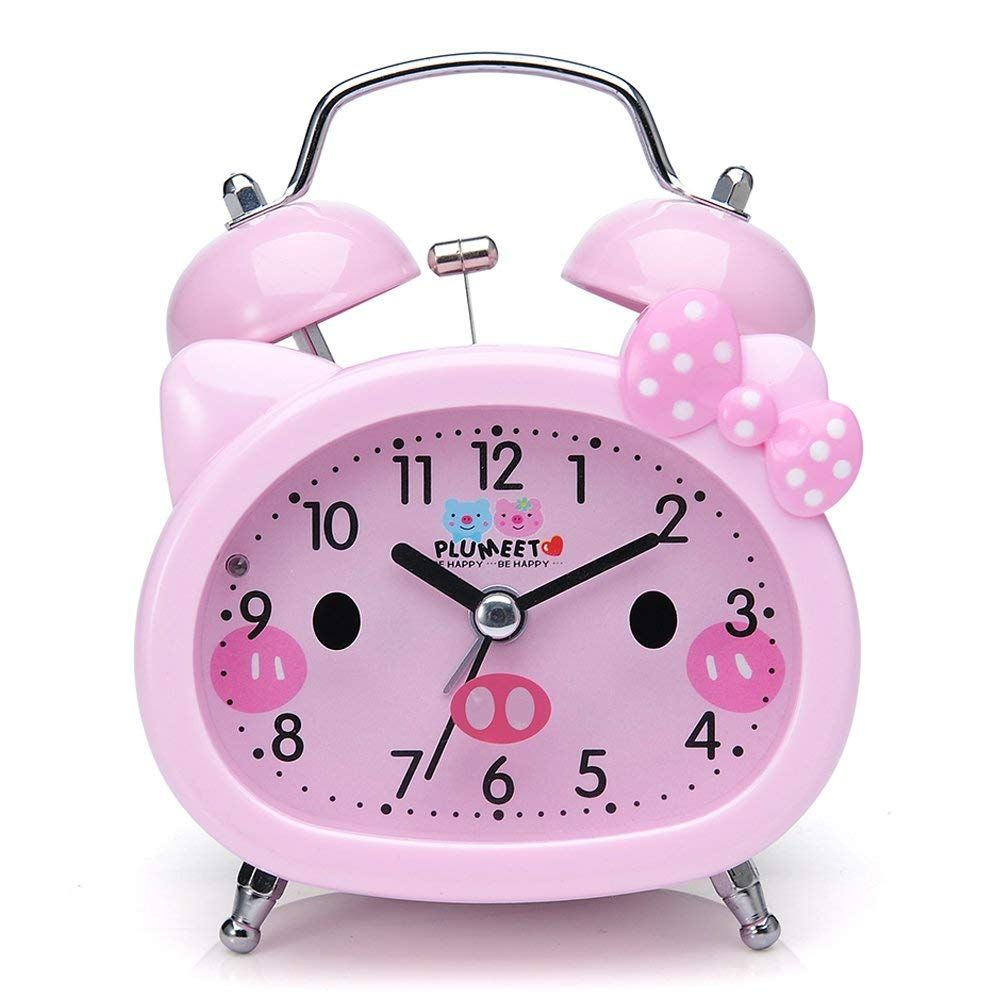 Amazon Com Plumeet Twin Bell Alarm Clock Kids Silent Non Ticking Cartoon Quartz Loud Alarm Clock Girls Cute Clock For Kids Kids Alarm Clock Loud Alarm Clock