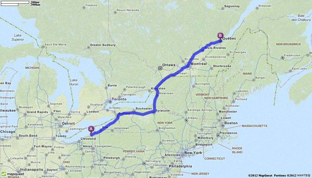 Map Quest Quebec Canada Driving Directions from Ashtabula, Ohio to Quebec, Canada