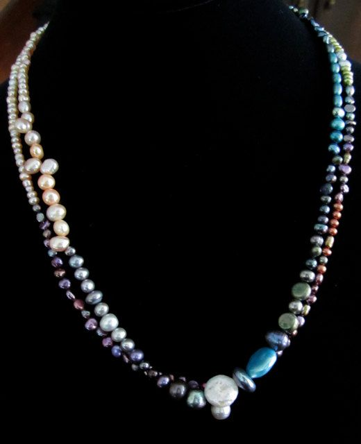 Freshwater pearls at KAKART http://www.etsy.com/listing/86405983/rainbow-of-freshwater-pearls