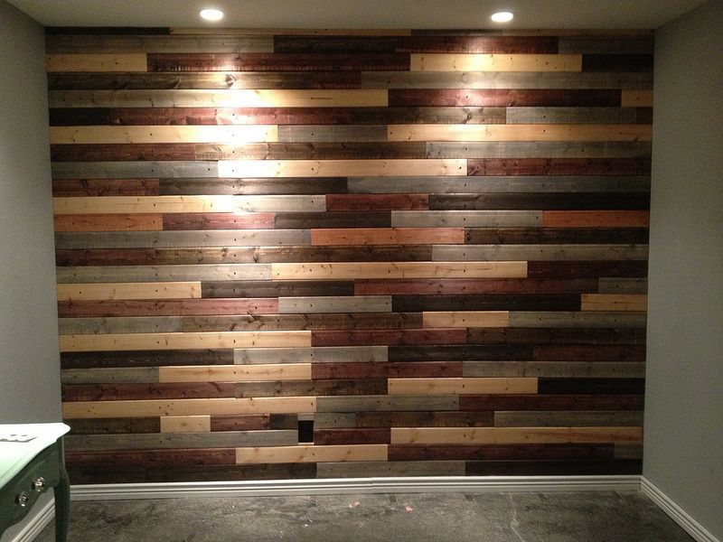 Pallet Look Wall Out Of Tongue Groove Thread Reclaimed Wood