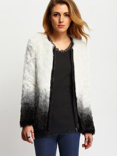 Black White Long Sleeve Faux Fur Coat