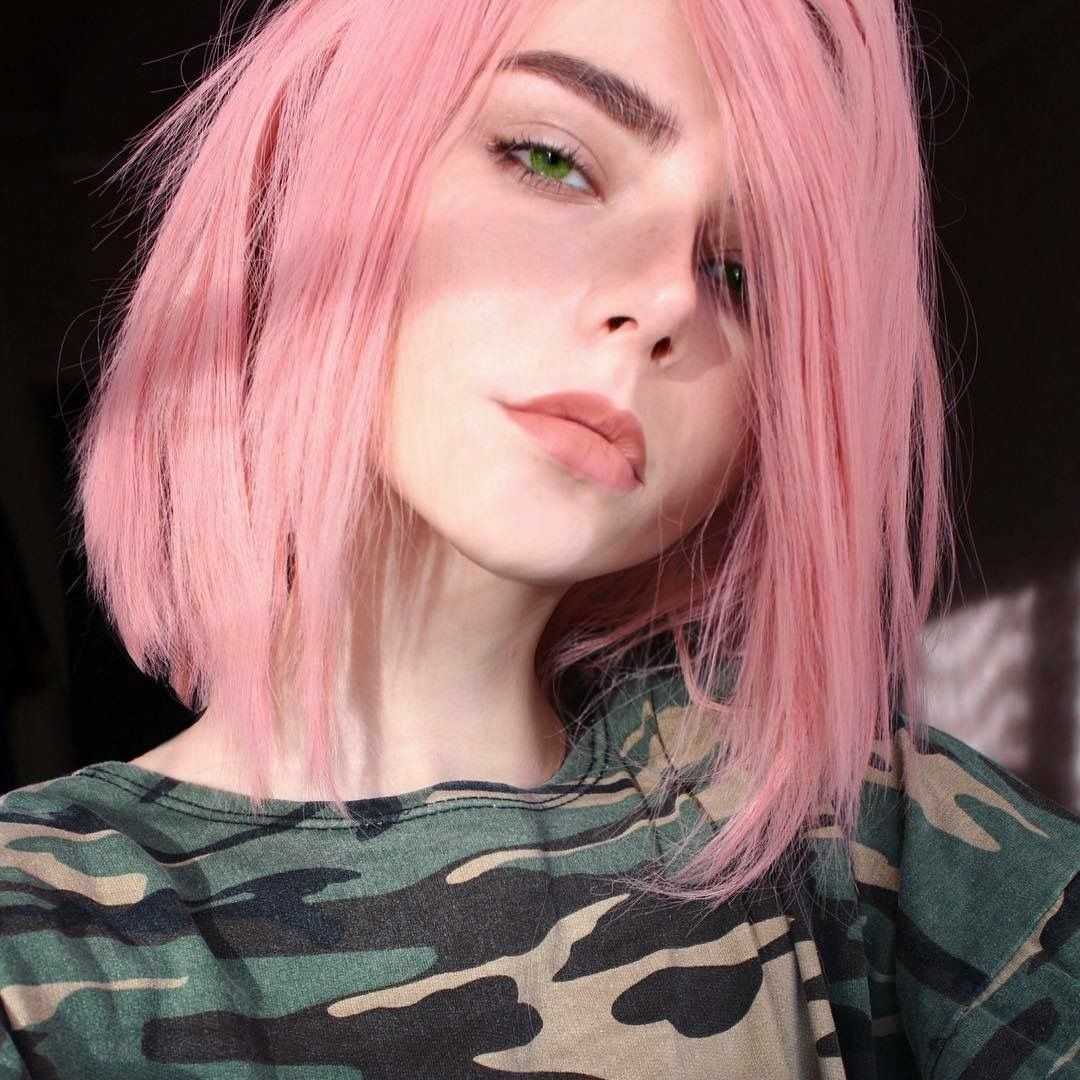 Real Life Looking Anime Girl: Face Girl Pink Hair Pinkish Skin