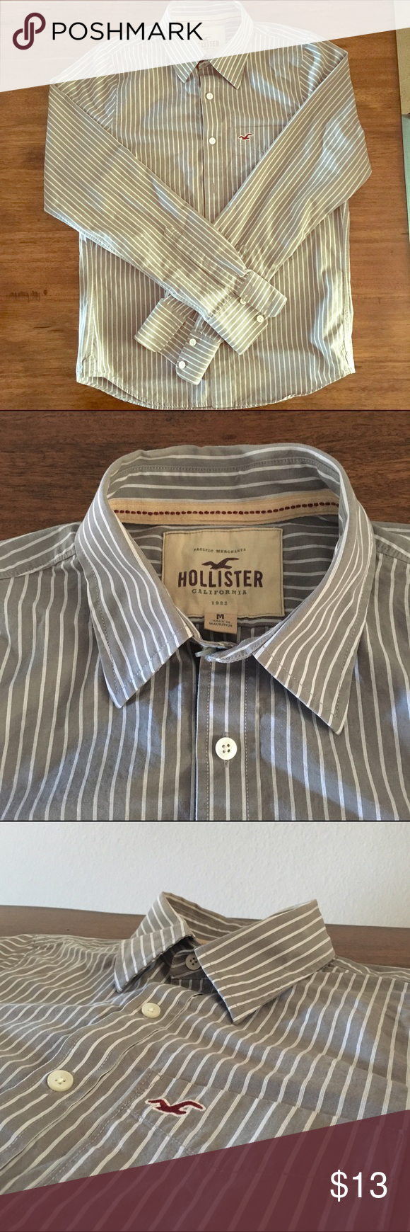 Sale Hollister Gray Casual Button Down Gray button down shirt with white stripes. Hollister Shirts Casual Button Down Shirts