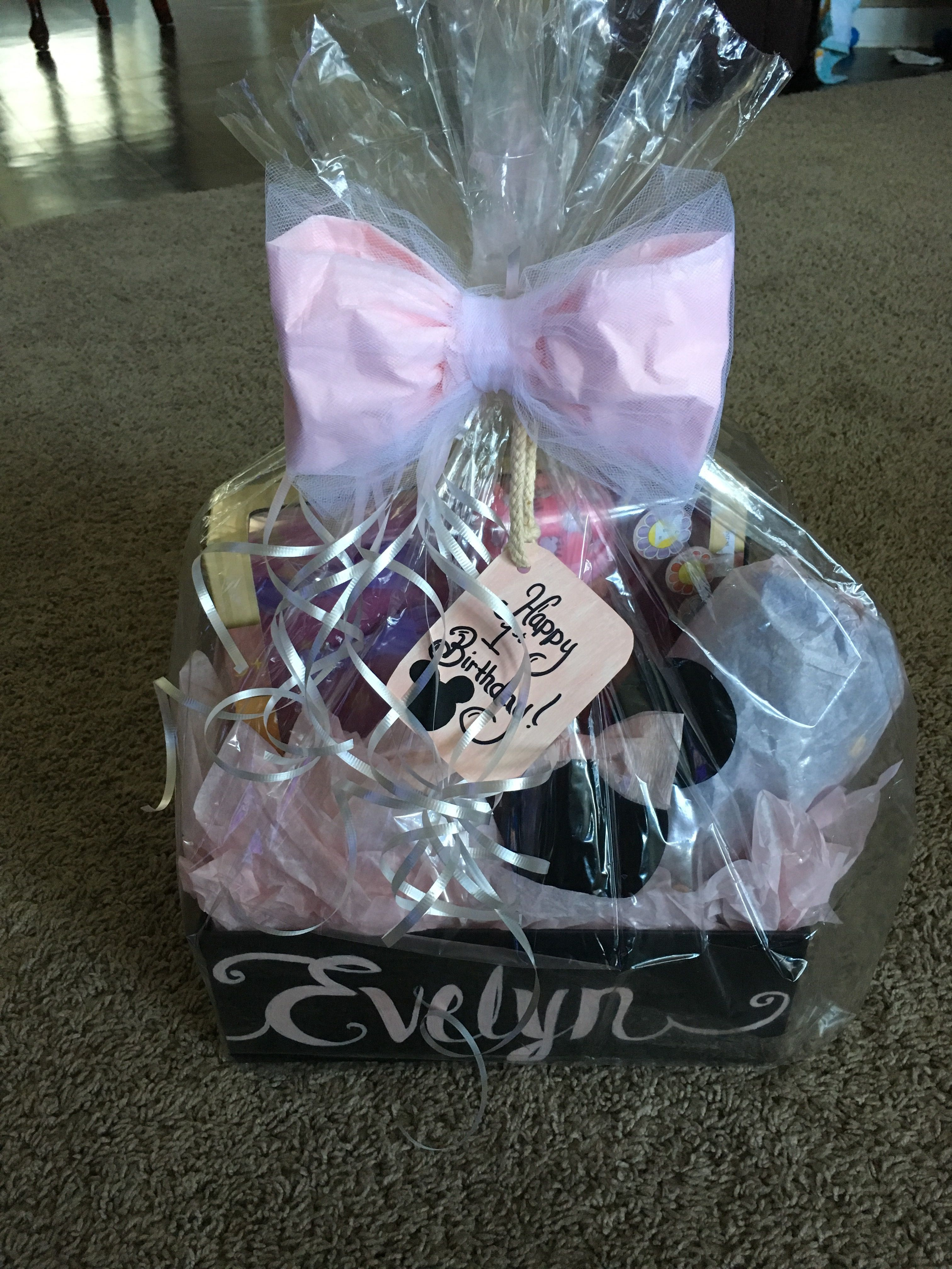 Minny Mouse 1st Birthday Gift Basket
