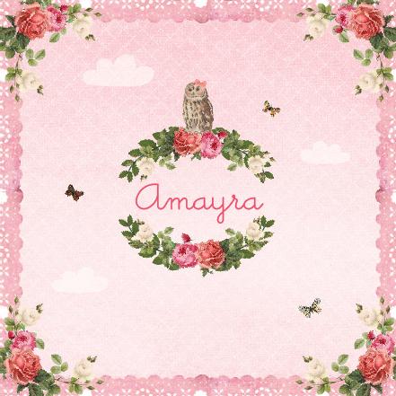 geboortekaartje Amayra - rozen, vlinders, uiltjes, wolken, vintage. www.hetuilennestje.nl