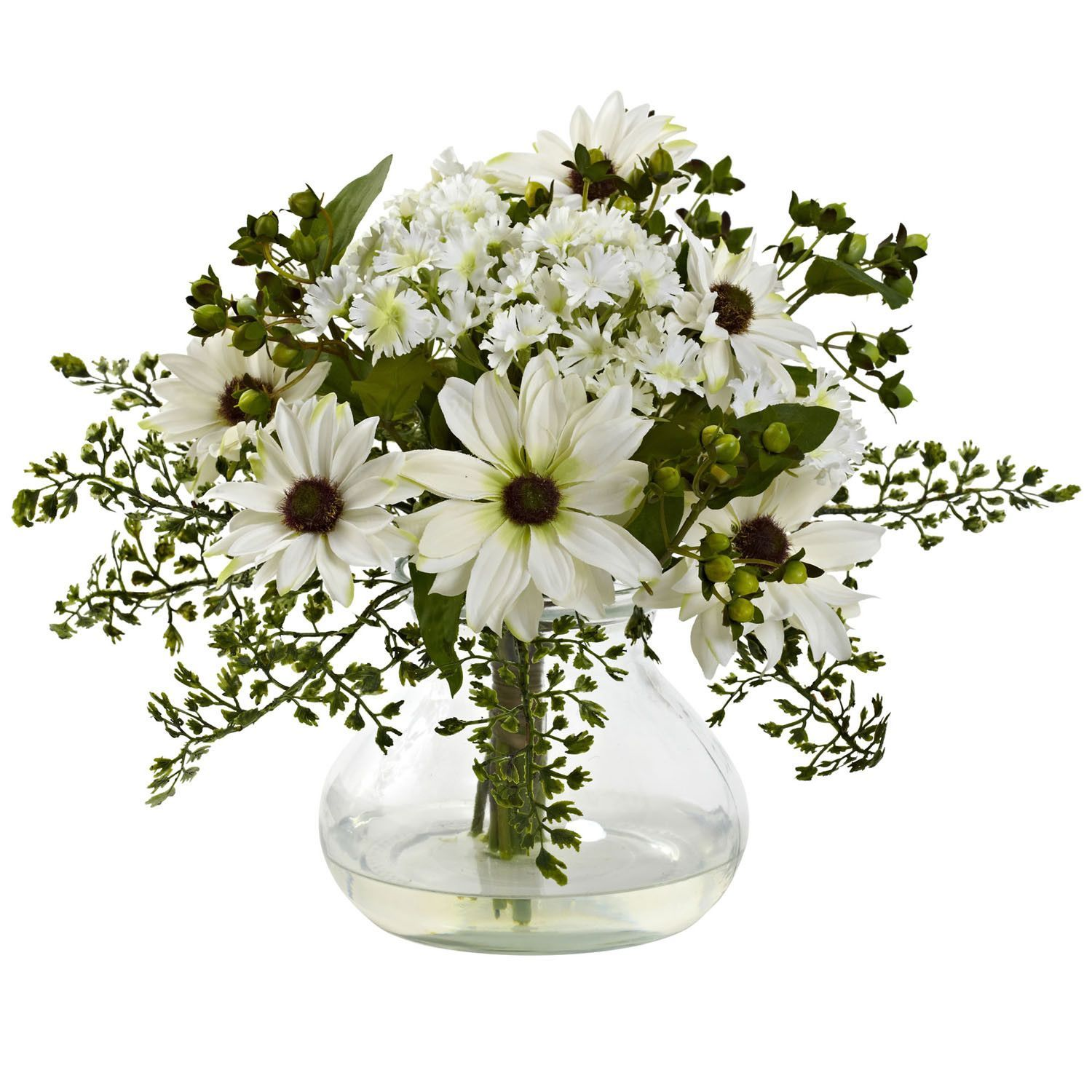 Description specifications a classic arrangement of daisy flowers description specifications a classic arrangement of daisy flowers arranged in beautiful vase filled with liquid illusion faux water izmirmasajfo