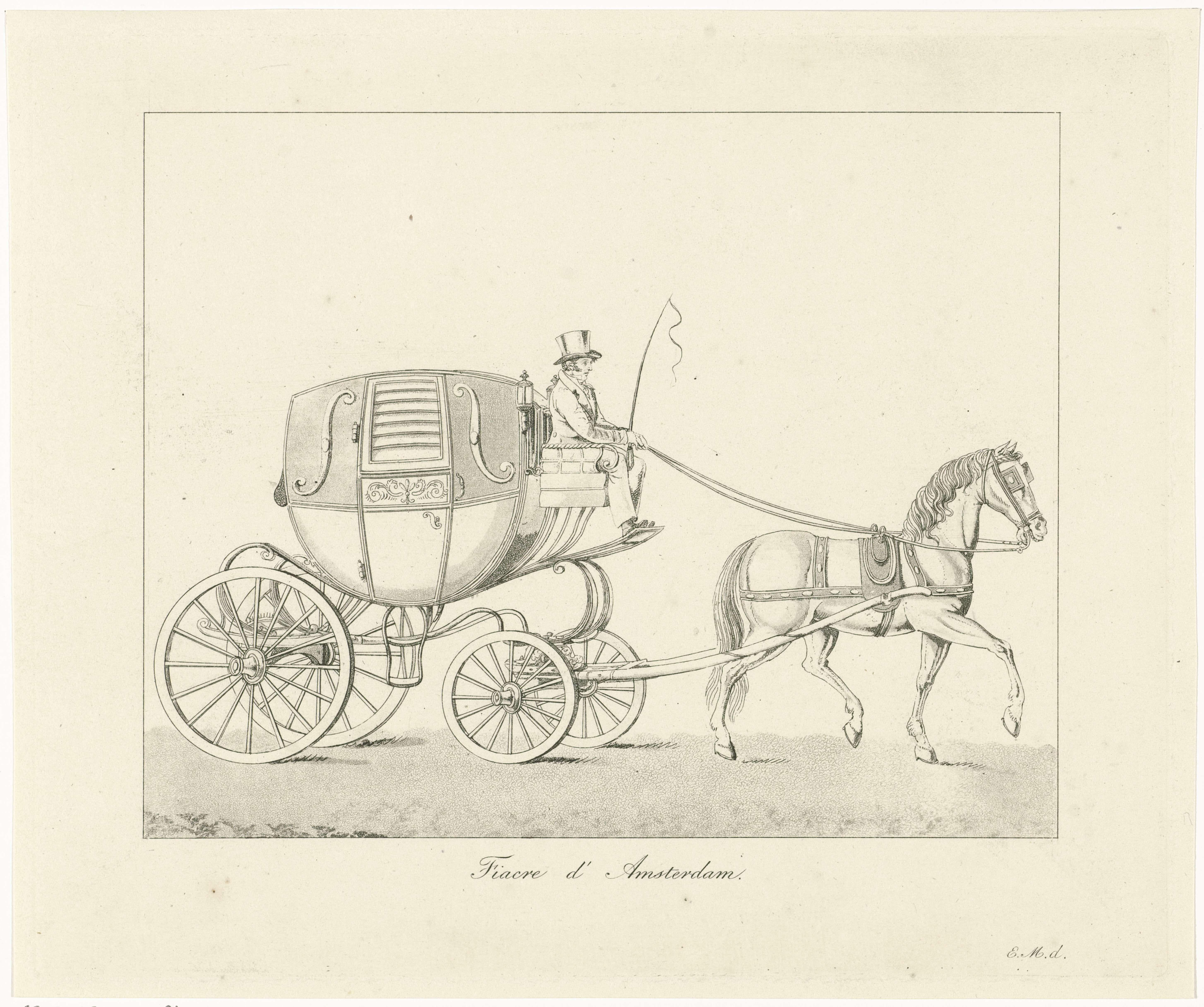 Roelof van der Meulen | Paardenkoets in Amsterdam, Roelof van der Meulen, Evert Maaskamp, 1816 - 1833 | Een koets met een ingespannen paard in Amsterdam. Op de bok de koetsier met een zweep in zijn hand. Dit type koets werd in Amsterdam ook wel Brommertje genoemd.