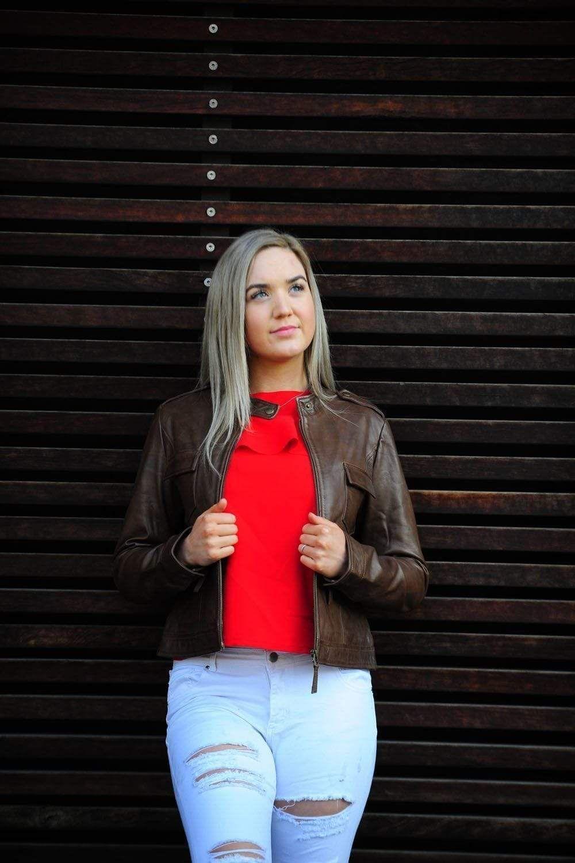 AKIRA BROWN WOMEN'S LEATHER JACKET Leather jacket women