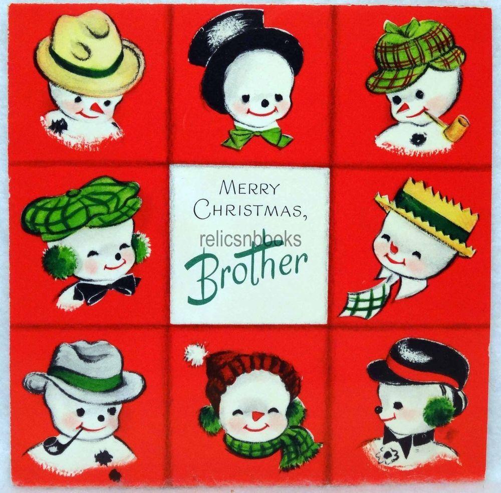 823 50s Snowman Brady Bunch Family! Vintage Christmas Card-Greeting ...
