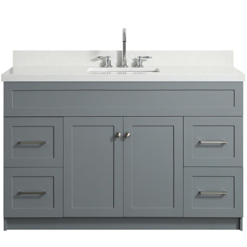 Ariel F055s Wq Vo Gry Grey Hamlet 54 Single Vanity Set With Hardwood Plywood Cabinet And Stone Vanity Top With Single Basin Sink Quartz Vanity Tops Bathroom Sink Vanity Single Sink Vanity