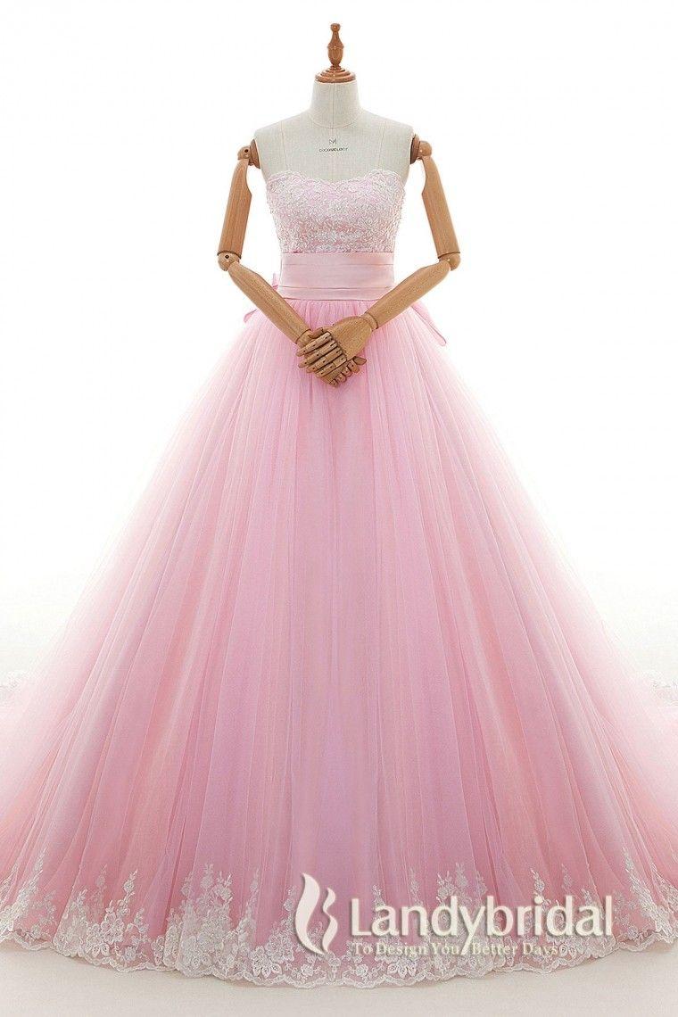 カラードレス プリンセスライン 桜ピンク 刺繍レース ビーズ チュール ハートネック リボン LD4237