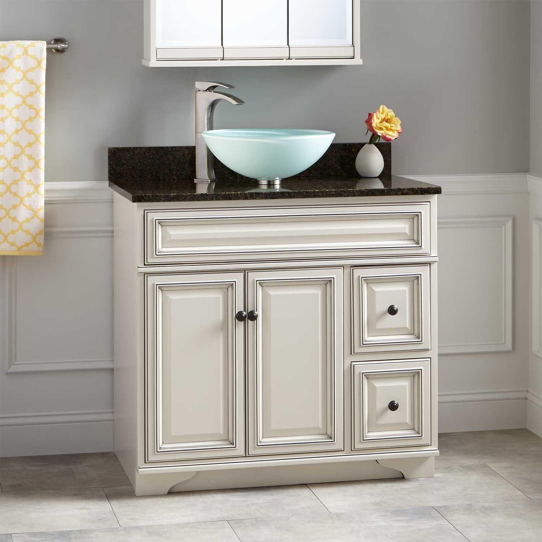 36 Misschon Vessel Sink Vanity Rustic Off White Bathroom