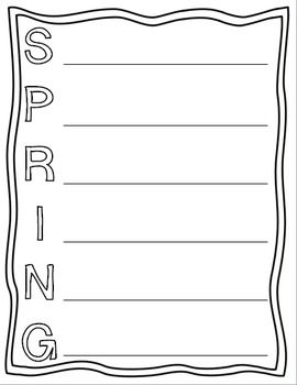 Spring Acrostic Poem template for National Poetry Month