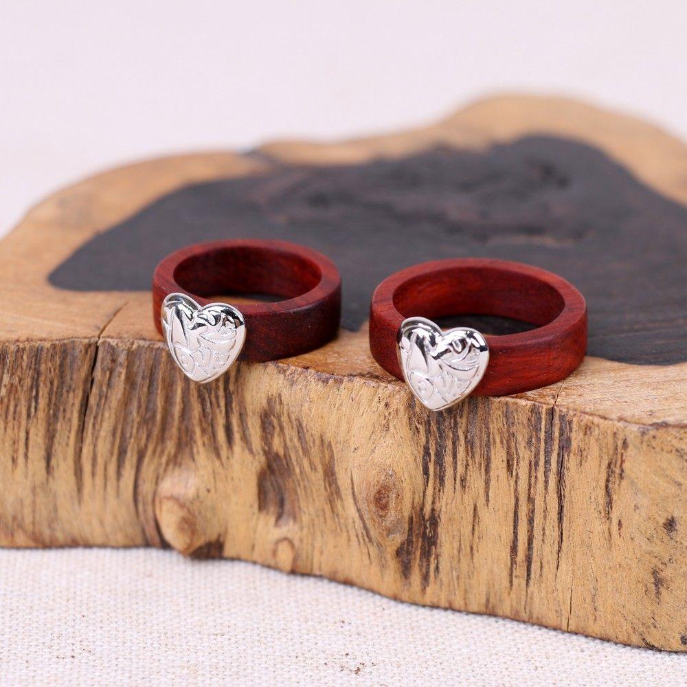 Original Design Hand-made Lobular Red Sandalwood Ring With 925 Sterling Silver Heart