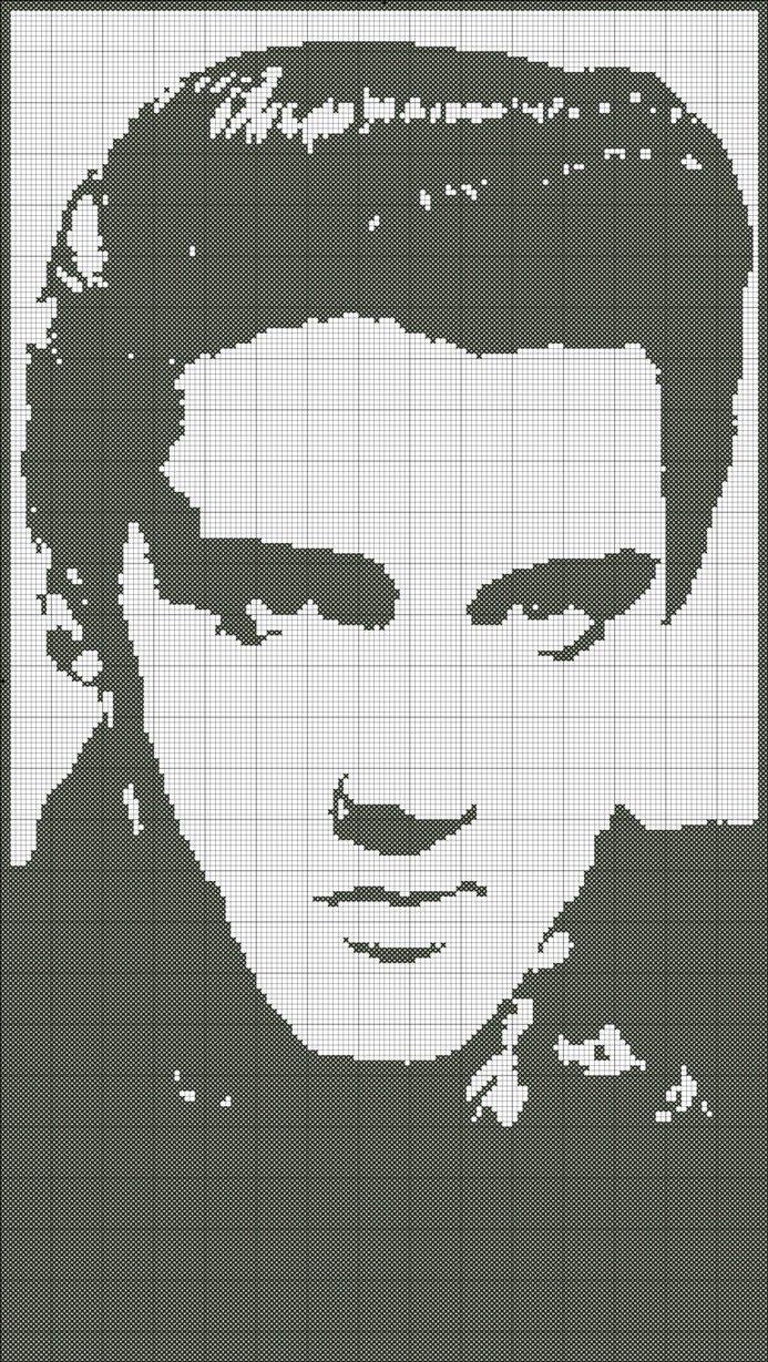Cross Stitch Pattern Elvis Silhouette Handmade Black and White pdf. $4.00, via Etsy.