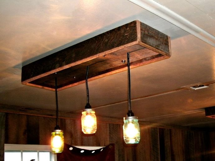 Mason Jar chandalier made from old barn wood Lighting Pinterest - como hacer lamparas de techo