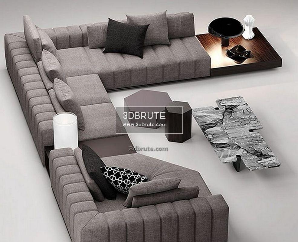 Minotti Sofa 3dmodel Download 3d Models Free 3dbrute In 2020 Mobel Wohnzimmer Wohnzimmer
