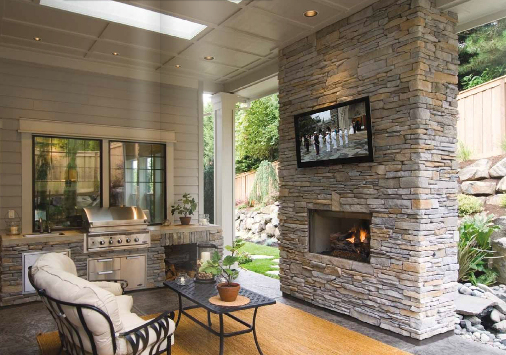 Southern Ledgestone - Echo Ridge on the fireplace | Cottage Ideas ...