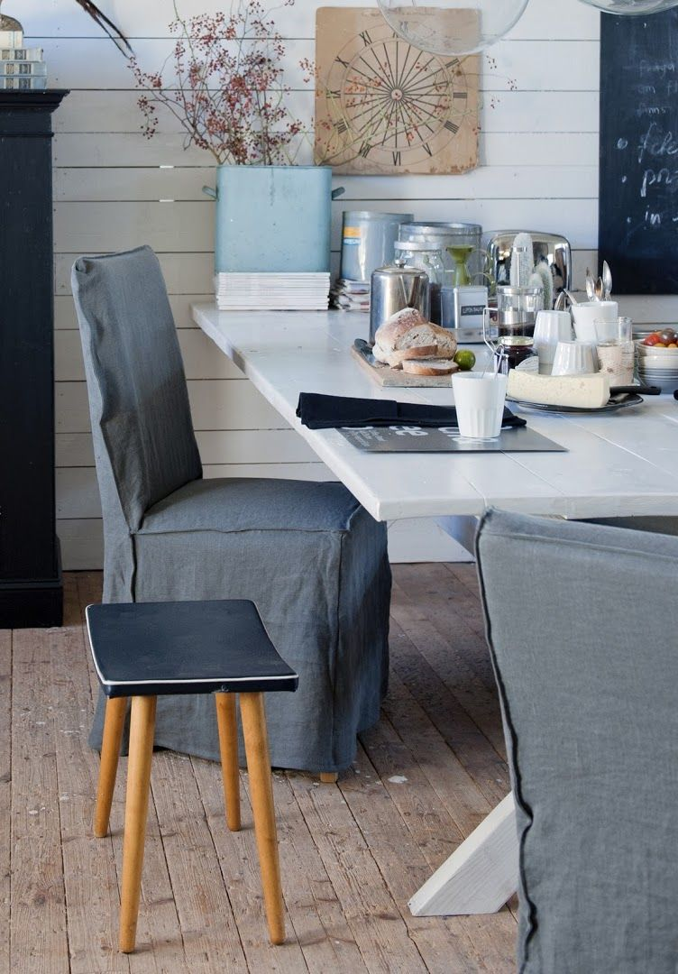 Industrial Dining Henriksdal Chair Covers Loose Fit Urban Style In Medium Grey Rosendal Pure Washed Linen Bemz