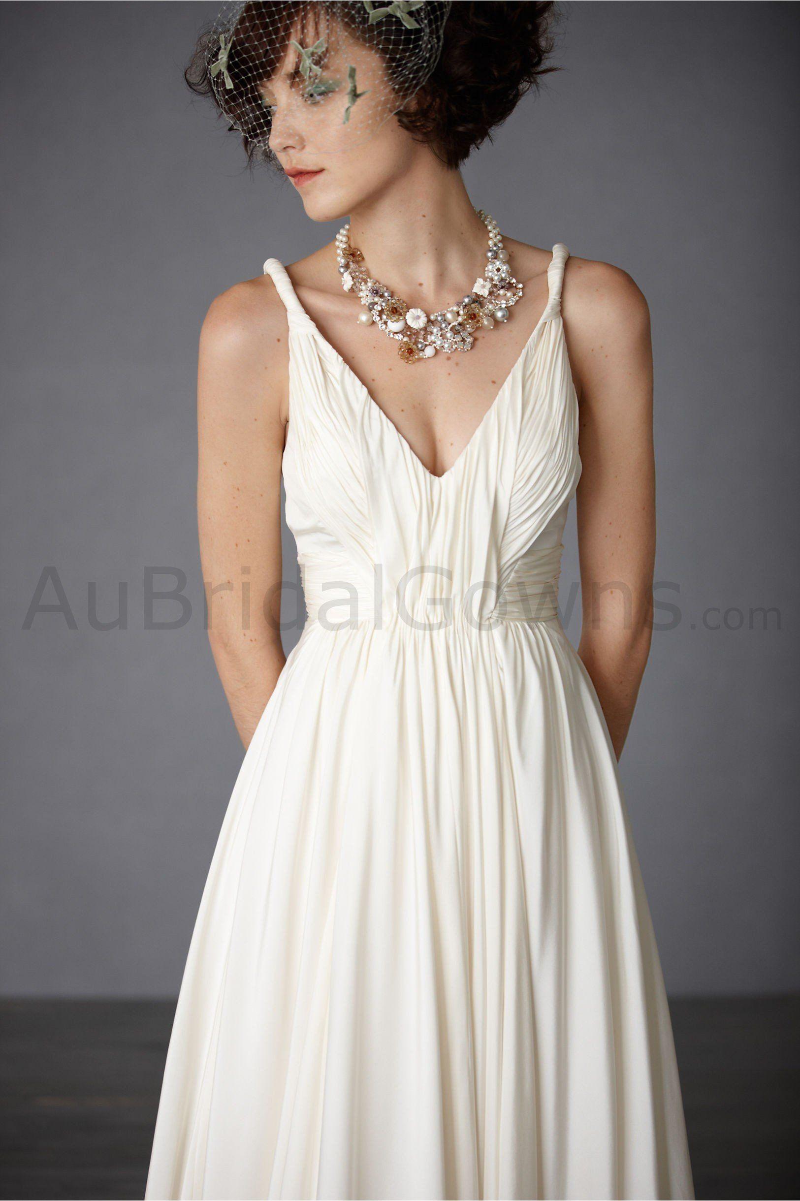Cotton V Neckline Waist Nipping Bodice Wedding Dress
