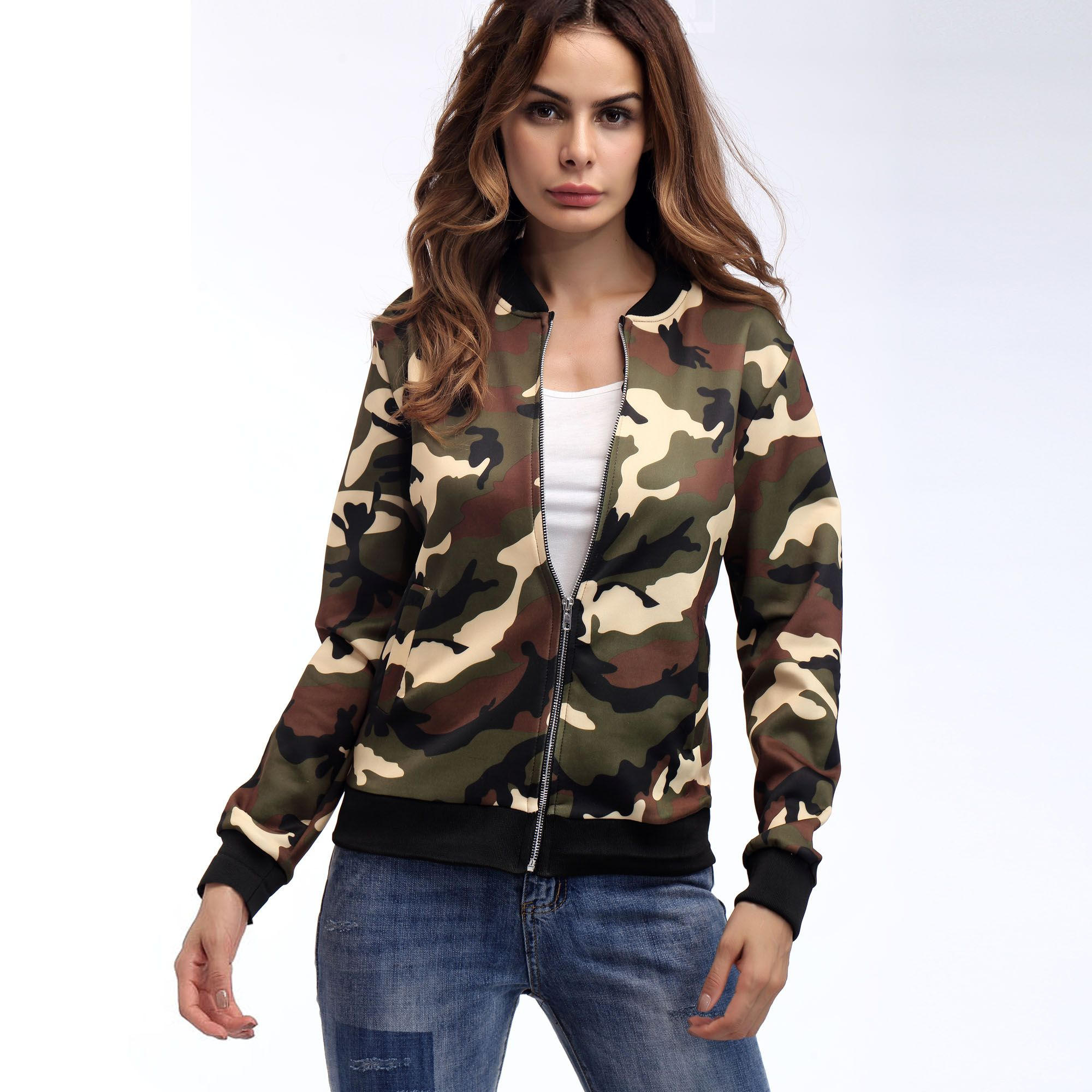 Womenus camouflage jacket tops pinterest camouflage