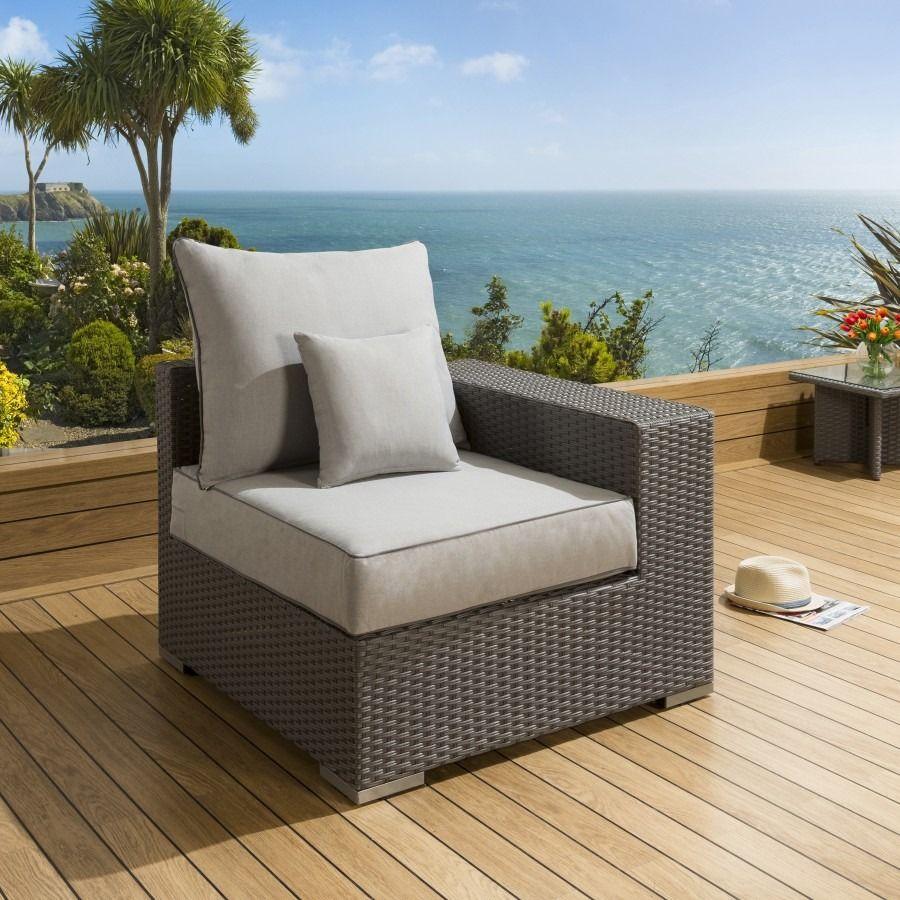 Luxury Outdoor Garden Single Sofa Piece Rattan Grey Silver Right End Single Sofa Outdoor Sofa Beige Cushions