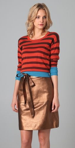 I know horizontal stripes are a no-no, but I do love this sweater. The color combination is stunning.