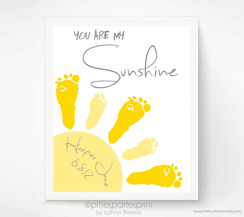 You Are My Sunshine Baby Footprint Art Print, Gray & Yellow Nursery ...