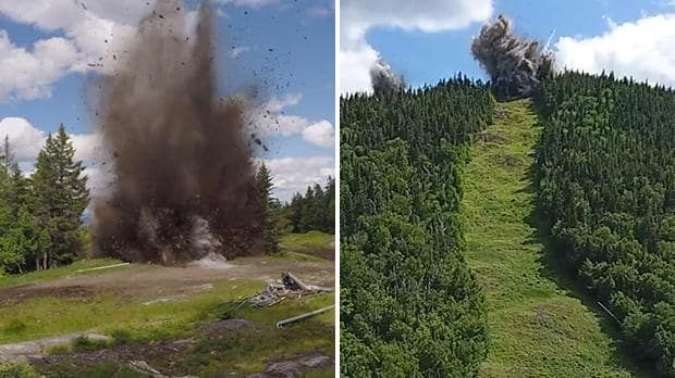 Watch ski resort blow up its slopes to make way for a new chairlift  http://www.telegraph.co.uk/travel/ski/news/ski-resort-blows-up-slopes-make-way-new-chairlift/