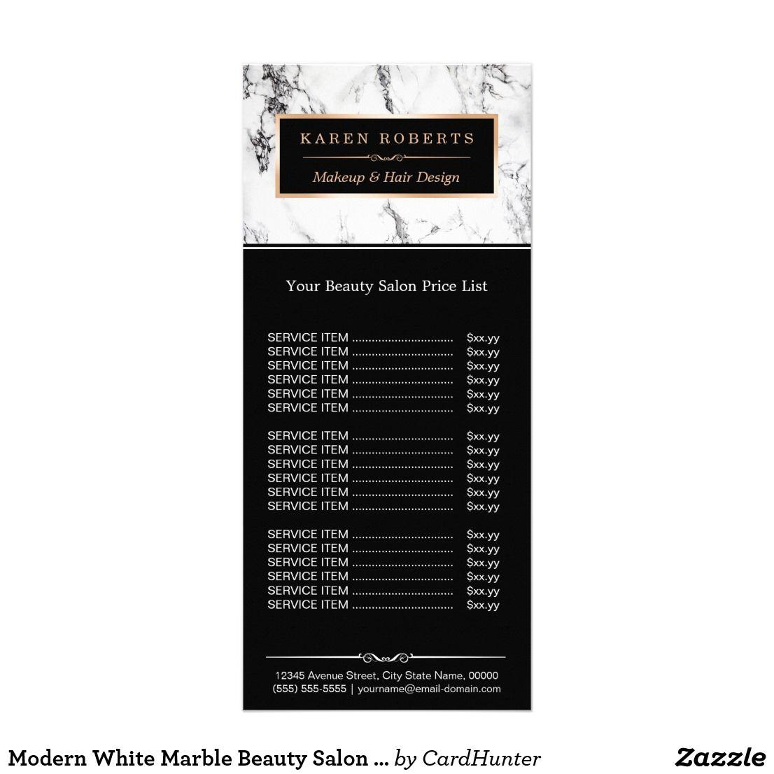 Modern White Marble Beauty Salon Price List Rack Card Zazzle Com Beauty Salon Price List Salon Price List Beauty Salon