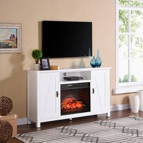 Adderline Farmhouse Style Infrared Electric Fireplace TV Stand White    Aiden Lane