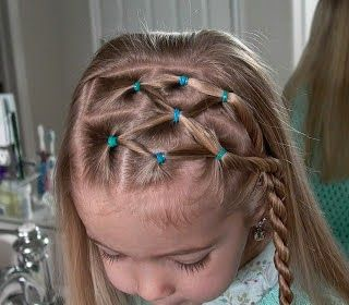 Little Girl's Hairstyles Side Puffy Braid with Twist Braid