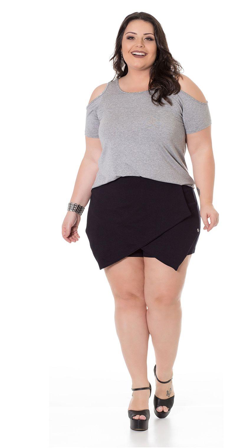 9096b9f801bac ... Beline Moda Plus Size. Blusa Viscolycra com Ombros Vazados Cinza, use  com shorts ou saia, fica incrível.