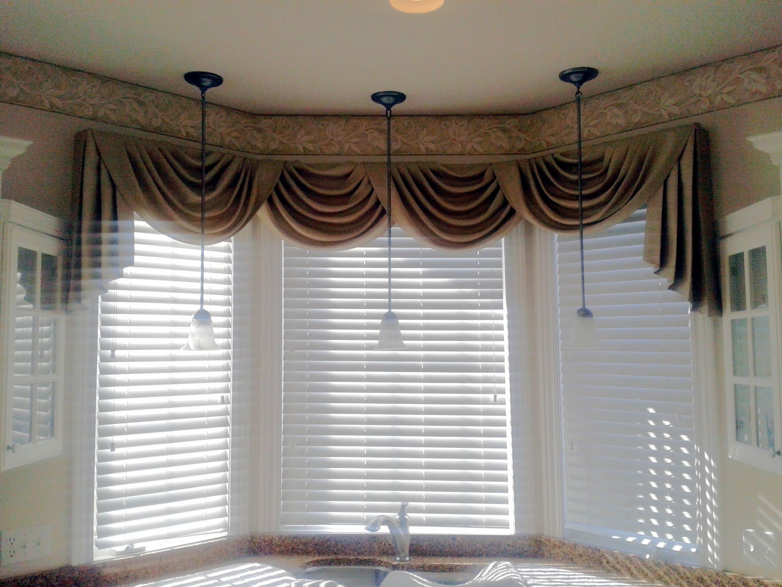 Swag curtain valance over wood blinds swag curtains Curtains venetian blinds