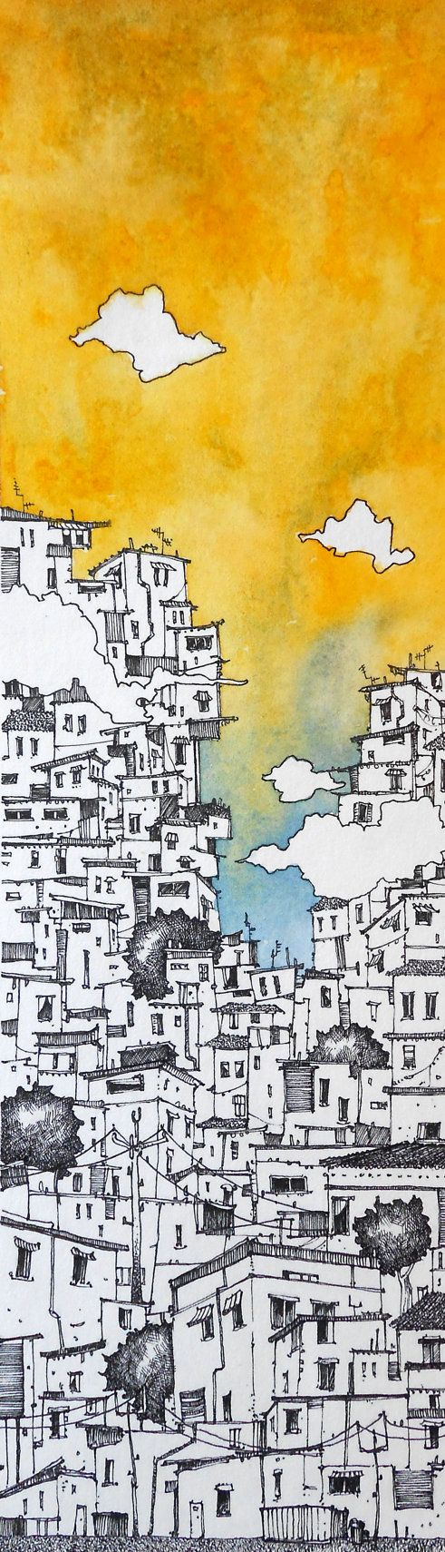 Sunny Favelas, Original Pen and Ink Watercolor Illustration by Duncan Halleck 37cm x 13.5cm - duncanhalleck.com