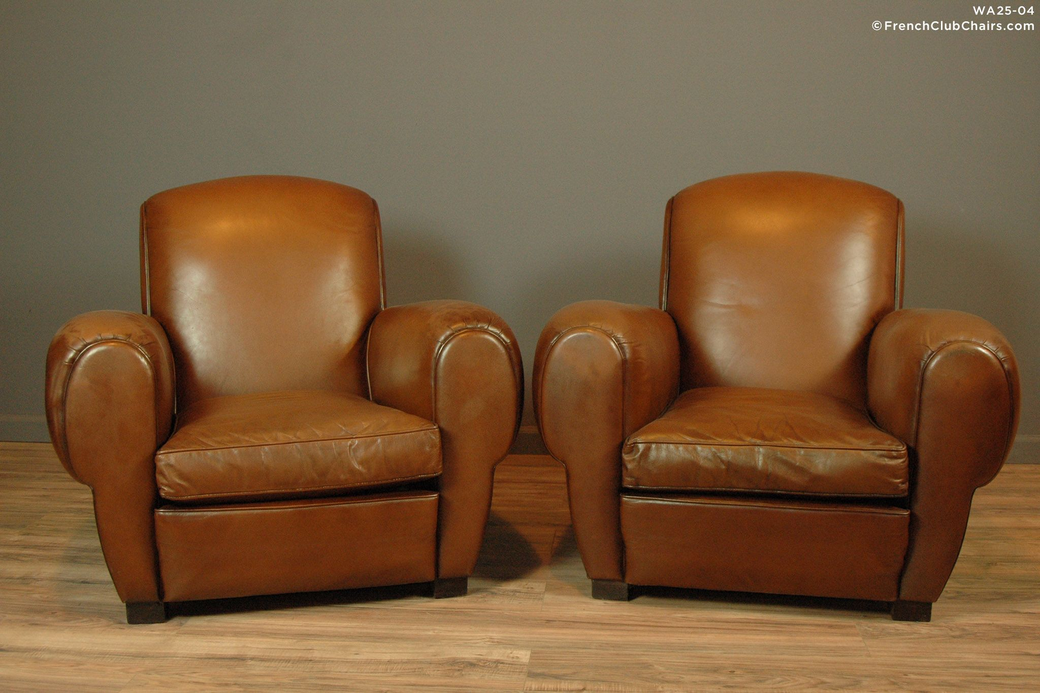 FrenchClubChairs.com $8,950.00 Epernay Rollback Cognac Pair Of Leather French  Club Chairs | WA25 04 Love This Midsize Pair Of French Club Chairs Circa  1940s ...