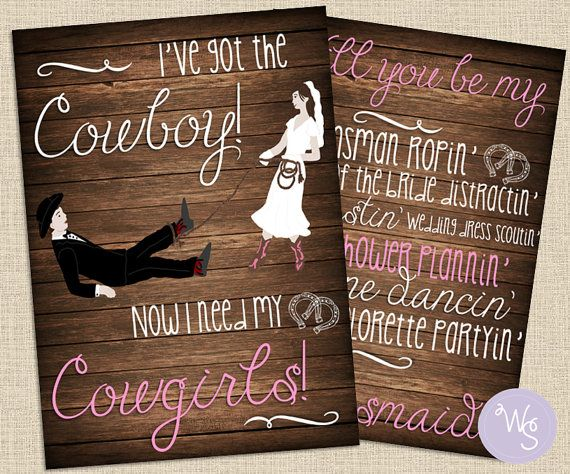 Party Proposal Cowgirl Wedding Party Proposal Cards Set 3 Cards Total Printable .