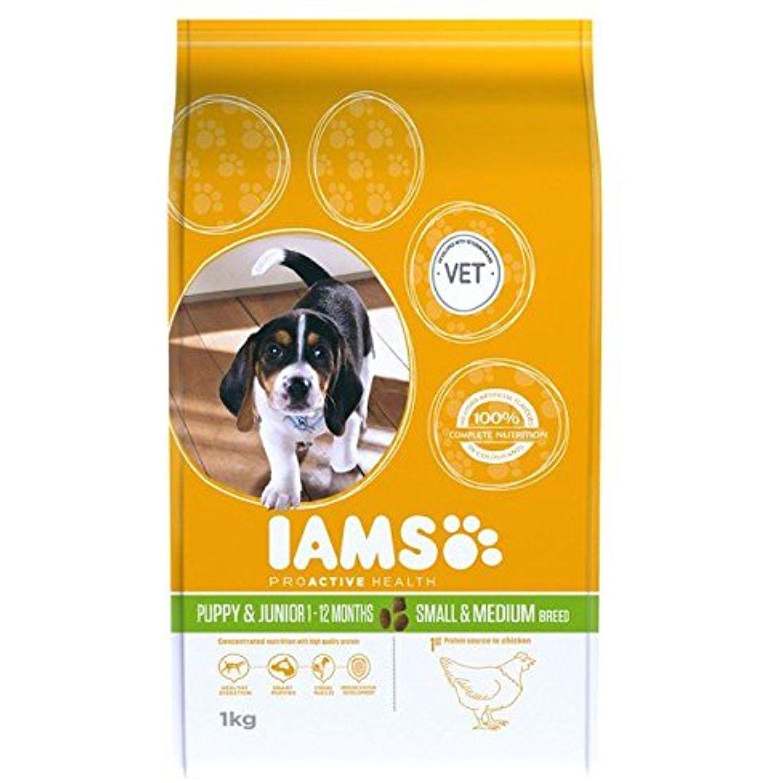 Iams Puppy Junior Small Medium Dry Dog Food 1kg Pack Of 4