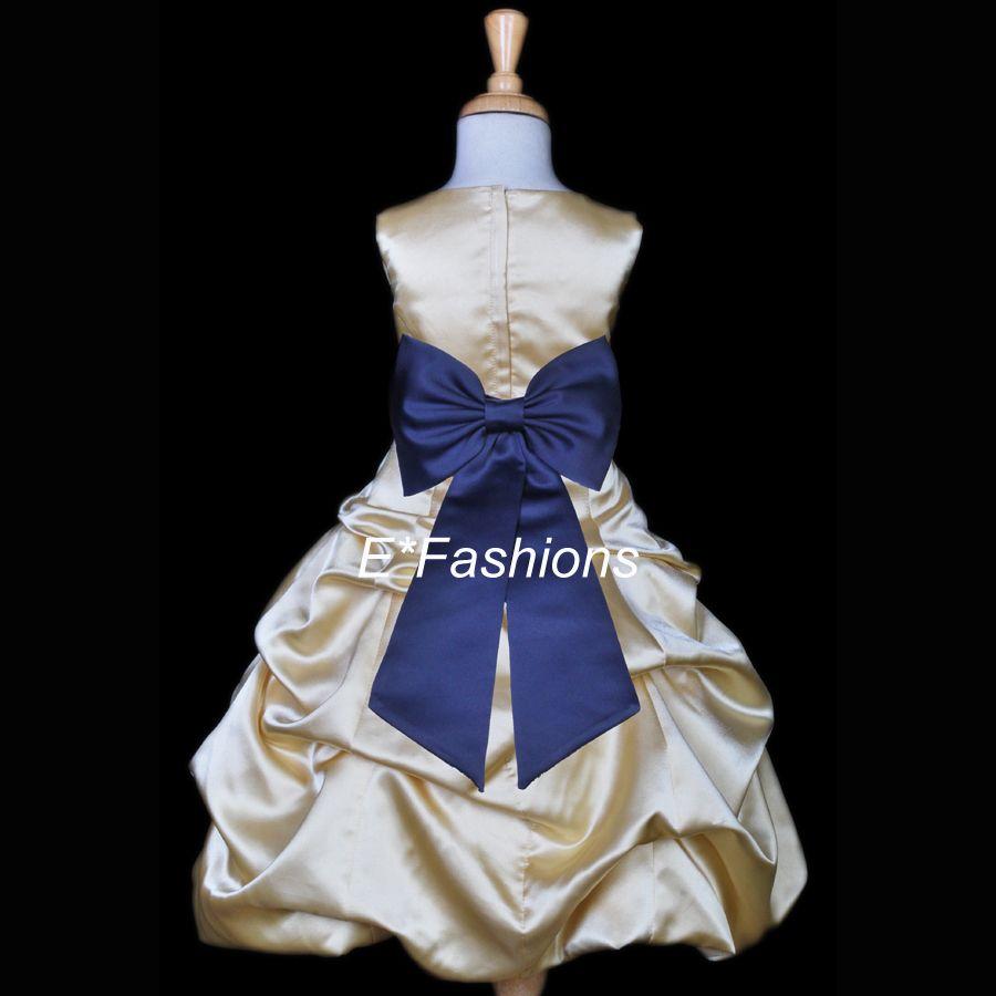 navy blue wedding dress Details about YELLOW GOLD NAVY BLUE PAGEANT WEDDING FLOWER GIRL DRESS 2 4 6 7 8 9 10 12 14 16