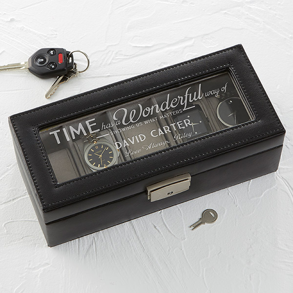 Leather 5 Slot Watch Box Timeless Message Presents Leather