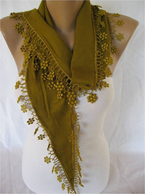 Olive Green Scarf Pashmina Scarf with Trim by MebaDesign on Etsy, $13.90