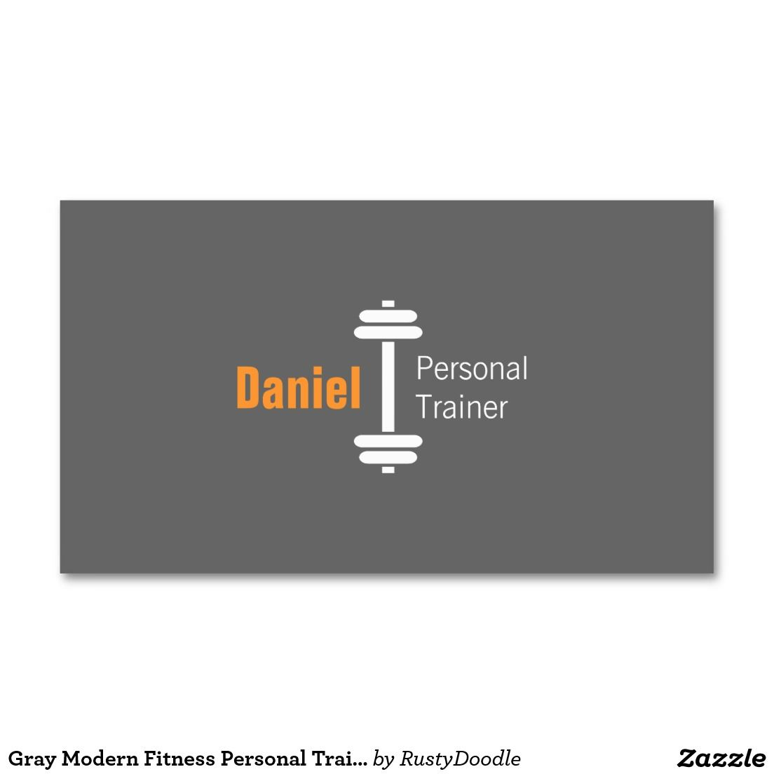 Gray Modern Fitness Personal Trainer Weights Business Card Zazzle Com Fitness Business Card Personal Trainer Big Muscle Training