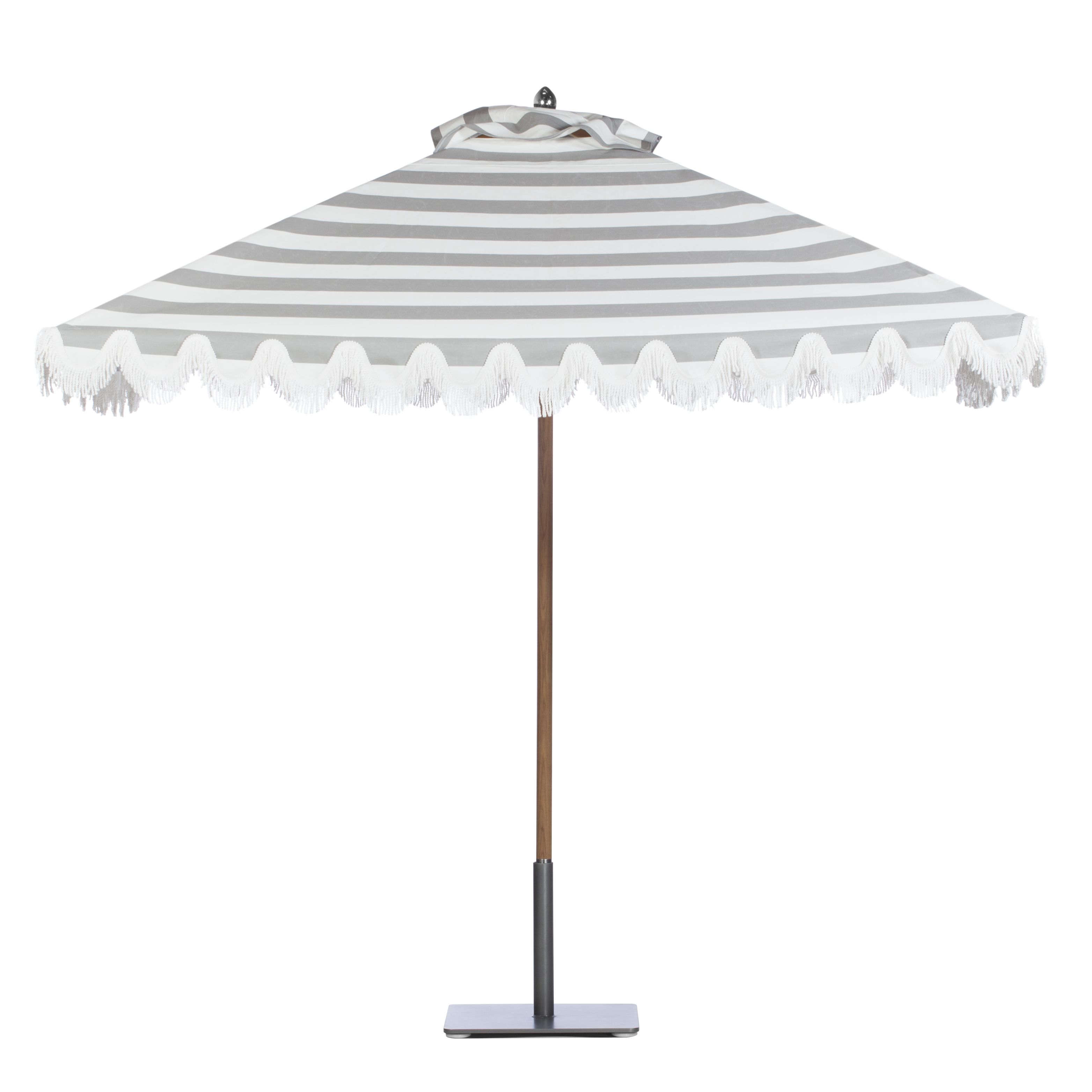 Riviera teak umbrella in Cabana Grey Stripe with stainless steel finial; scalloped style valance with White bullion fringe.