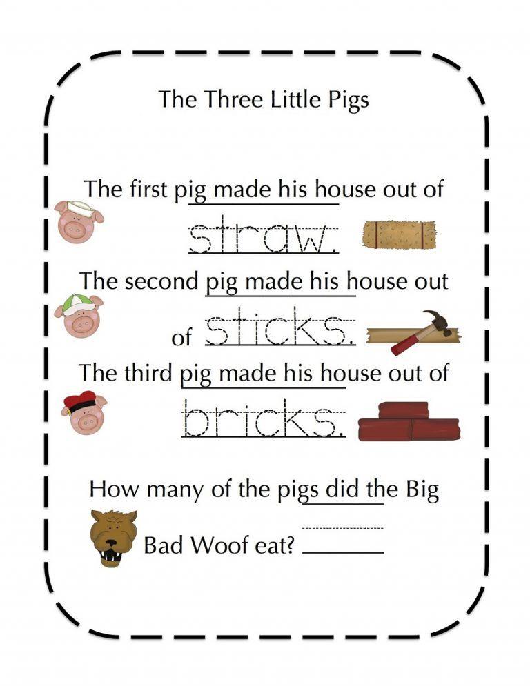 Pin On Kindergarten La Three little pigs worksheets