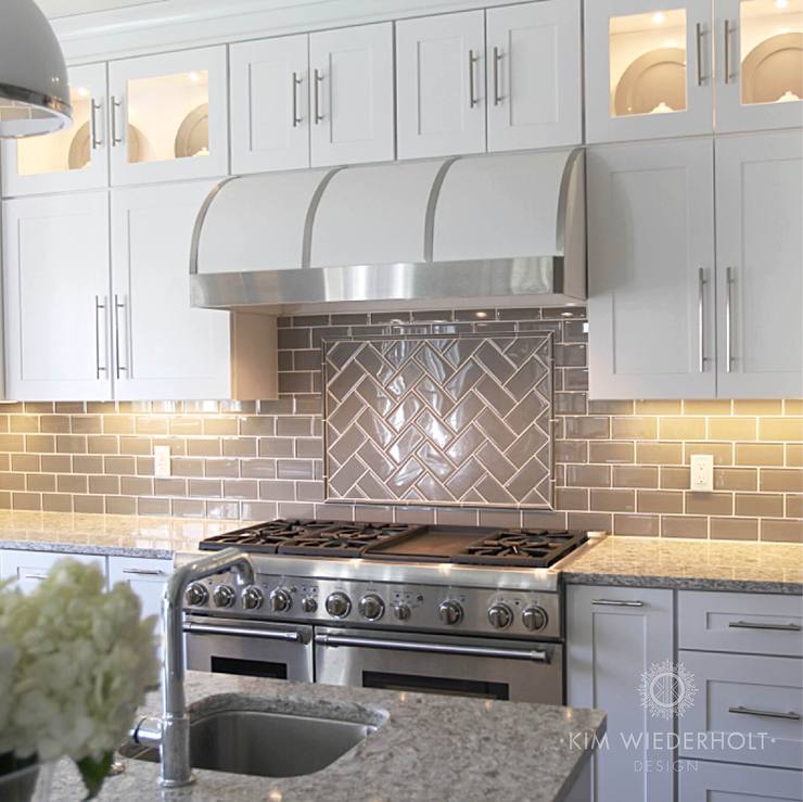 White And Gray Kitchen Design With Gray Glass Subway Tile, White Range  Hood, Cambria